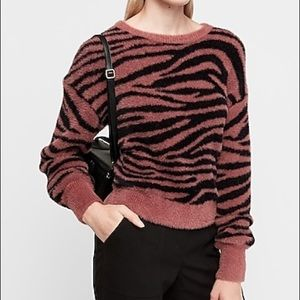 NWT Express fuzzy print balloon sleeve sweater